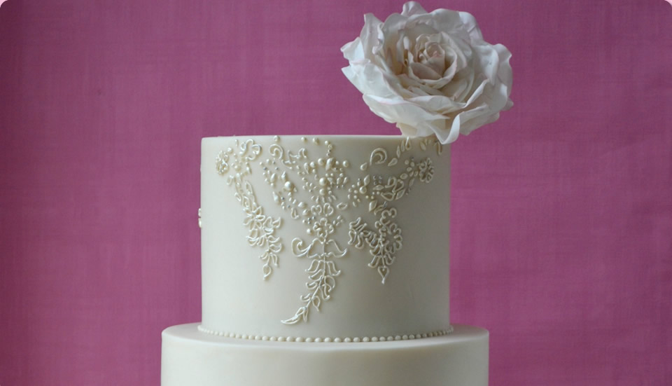 Beautiful Wedding Cake in White Ivory by Homebaked Heaven of Harrogate, North Yorkshire