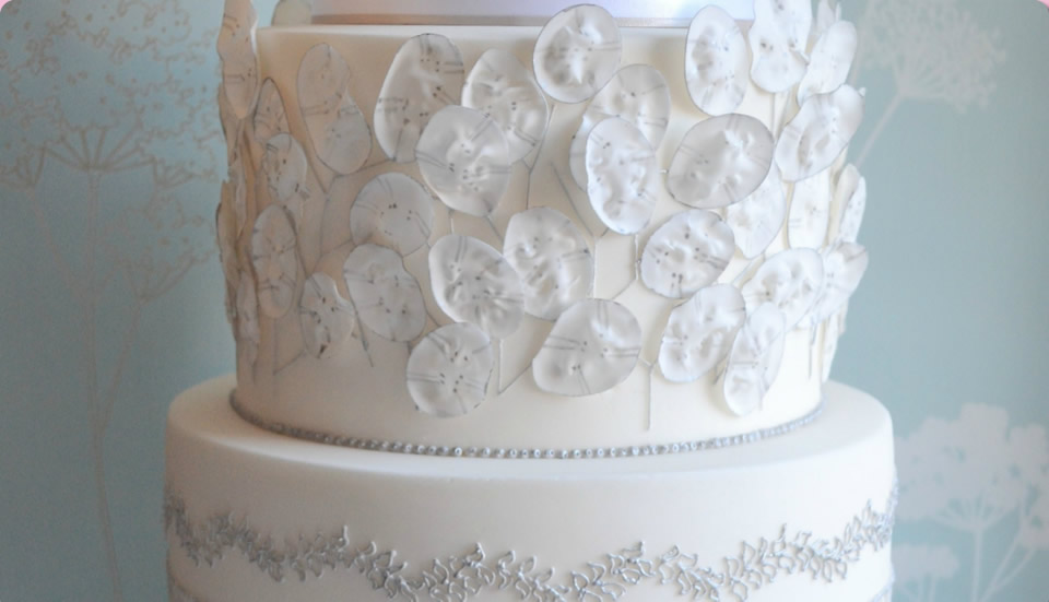 Beautiful Wedding Cake in White and Silver by Homebaked Heaven of Harrogate, North Yorkshire
